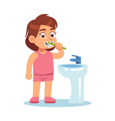 girl brushing teeth cute child in bathroom vector image