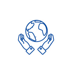 globalization in hands line icon concept vector image