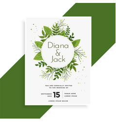 Green leaves wedding invitation card design vector