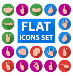 Hand gesture flat icons in set collection for vector