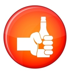 Hand holding bottle of beer icon flat style vector