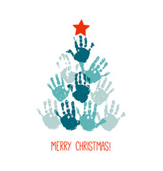 handprint christmas tree with red hand drawn star vector image