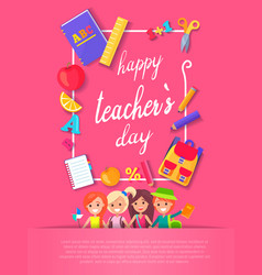 happy teacher s day postcard vector image