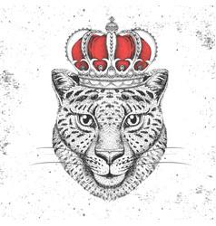 Hipster animal cheetah in crown vector