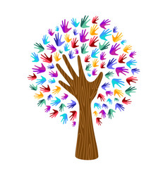 human hand tree for culture diversity concept vector image