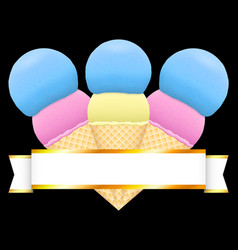 ice cream decoration element with ribbon vector image