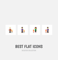 Icon flat relatives set of daugther father gril vector