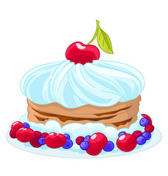 Icon sweet cartoon cake with whipped cream vector
