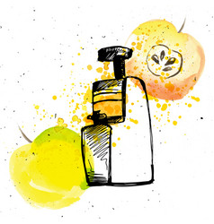 juicer with apple apple juice with juicer and vector image