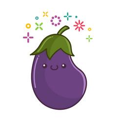 Kawaii smiling eggplant cartoon vector