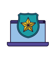 laptop screen with open shield and star icon vector image