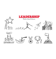 Leadership hand drawn infographic vector