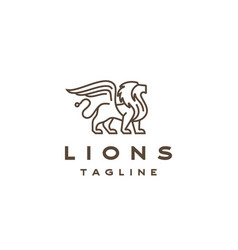 line art lion with wings logo design template vector image