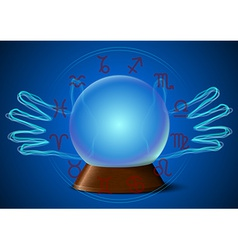 Magic ball with hands and zodiac signs vector image