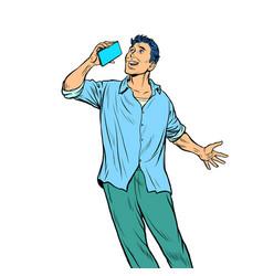 man talking on phone vector image