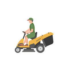 Man with yellow lawnmower vector
