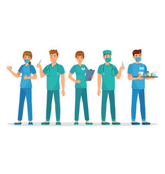 medical interns team young students group vector image