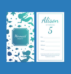 mermaid party invitation card template vector image