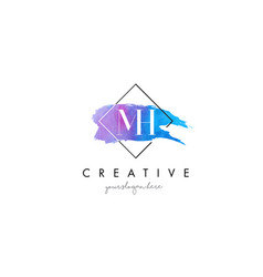 Mh artistic watercolor letter brush logo vector