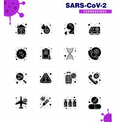 novel coronavirus 2019-ncov 16 solid glyph black vector image