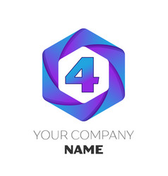 Number four logo in the colorful hexagonal vector