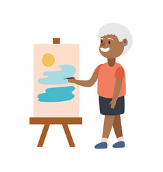 Old afro woman painting picture avatar character vector