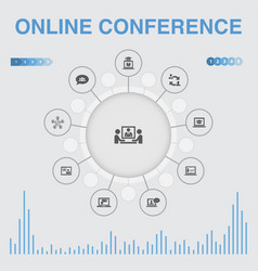 online conference infographic with icons contains vector image