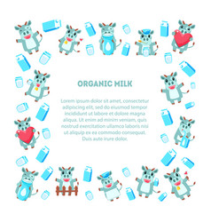 Organic milk frame square shape with cute funny vector