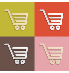 Paper Shopping Carts Baskets Set on Retro vector image
