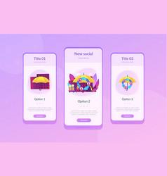 Peer-to-peer insurance app interface template vector