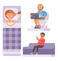 people and gadgets concept busy person smart vector image