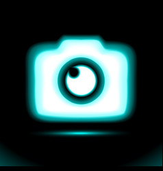 Photo camera blue glowing neon icon lamp sign vector