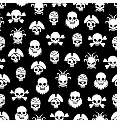 pirate seamless pattern with white skulls vector image