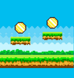 Pixel-game background with coins flying in blue vector
