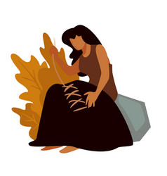 Prehistoric woman sewing clothes ancient people vector