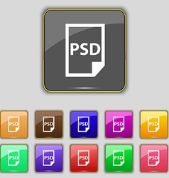 PSD Icon sign Set with eleven colored buttons for vector