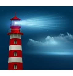 Realistic lighthouse in night sky background vector