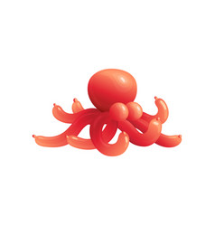 red octopus balloon animal with long tentacles vector image
