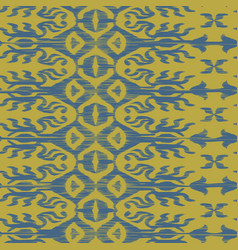 seamless ikat pattern blue and yellow vector image