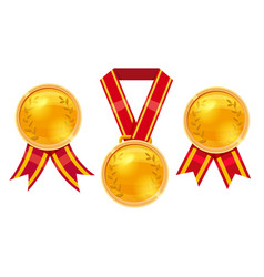 Set champion gold award medals with red ribbons vector