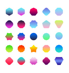 set of gradient color badge shape bright trendy vector image