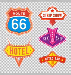 set retro signboards with light text vector image