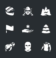 Set snowmobile icons vector