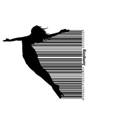 silhouette of a jumping girl vector image