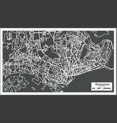 Singapore city map in retro style outline map vector