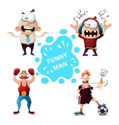Sport music officeman football characters vector