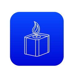 Square candle icon blue vector
