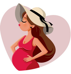 stylish pregnant woman wearing a trendy hat vector image