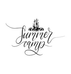 summer camp poster with lettering vector image