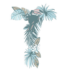 summer pattern hand drawn letter t palm leaves vector image
